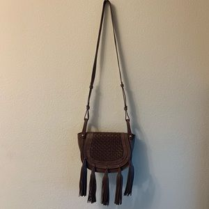BCBGMAXAZRIA Brown Leather Fringe Bag